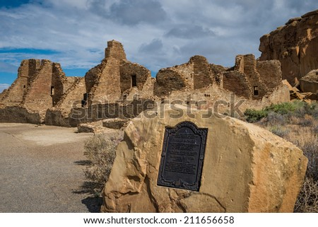 Pueblo Bonito at the Chaco Culture National Historical Park in New Mexico on July 29, 2014 - stock photo