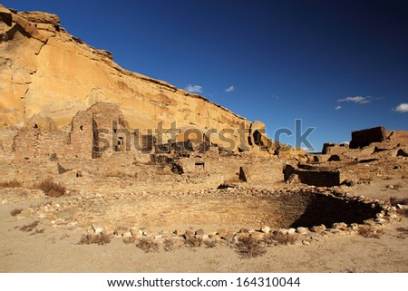 Pueblo Bonito Kiva, Chaco Culture National Historical Park, New Mexico - stock photo