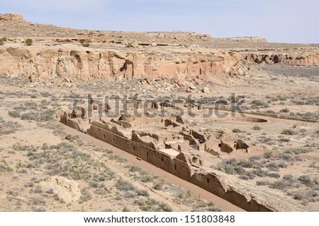 Pueblo Bonito ruins, Chaco Culture National Historical Park, New Mexico (USA) - stock photo