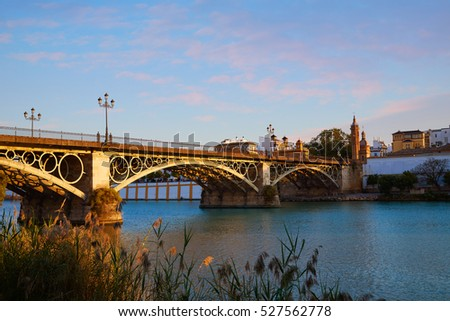 Puente Isabel II bridge sunset in Triana Seville of Andalusia Spain