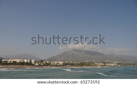 Puerto Banus beach in Marbella, Spain - stock photo