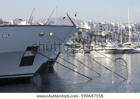 Puerto Banus port name, located in Marbella Spain. - stock photo