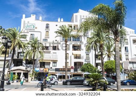 Puerto Banus, Spain - August 15, 2015: Shopping center in Puerto Banus, a marina near Marbella in Costa del Sol, Andalusia. - stock photo