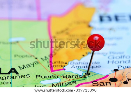 Puerto Barrios pinned on a map of America  - stock photo