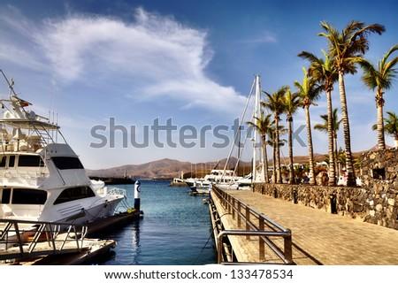 Puerto Calero in Lanzarote - stock photo