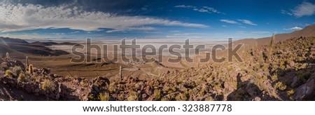 Puerto Chuvica village, located by Salar de Uyuni salt plain in Bolivia. - stock photo