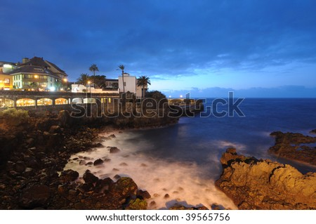 Puerto de la Cruz at night. Canary Island Tenerife, Spain - stock photo