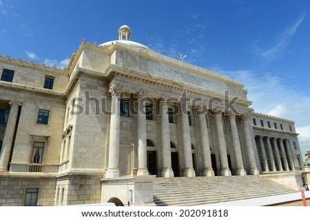 Puerto Rico Capitol (Capitolio de Puerto Rico) is a Beaux-Arts Building at downtown San Juan, Puerto Rico. - stock photo