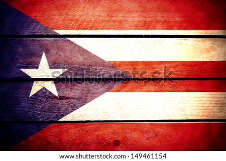 Puerto Rico flag in wood