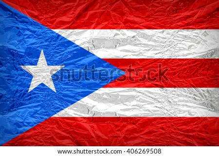 Puerto Rico flag pattern overlay on floyd of candy shell, vintage border style - stock photo