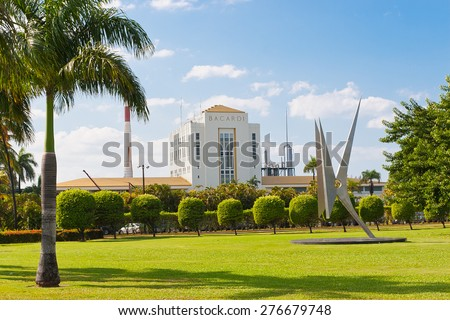 PUERTO RICO - JANUARY 4, 2010: View of Bacardi Rum Factory  on January 4, 2010 in Puerto Rico. Bacardi is the largest privately held, family-owned spirits company in the world. - stock photo