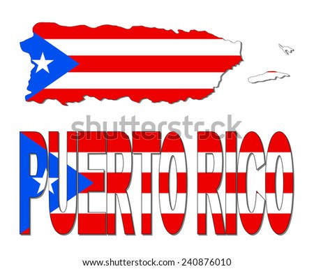 Puerto Rico map flag and text illustration - stock photo