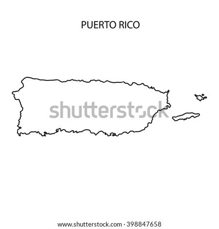 Puerto Rico Map Outline - stock photo