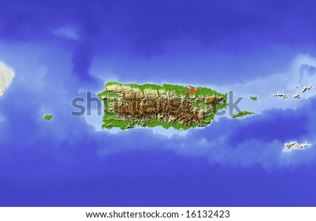 Puerto Rico. Shaded relief map, with major urban areas and rivers, surrounding territory greyed out. Colored according to elevation. Clipping path for the state area included. Data source: NASA - stock photo
