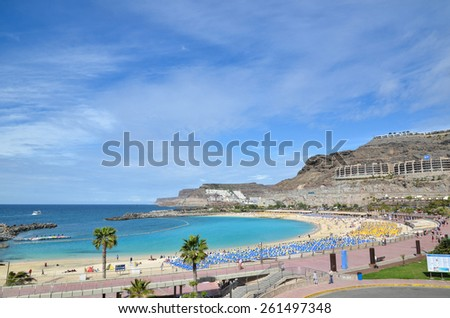 PUERTO RICO, SPAIN - FEBRUARY 10; View at Playa de Amadores by the town Puerto Rico at the Canary Islands in Spain. Photo taken on February 10,  2015, in Puerto Rico, Spain. - stock photo