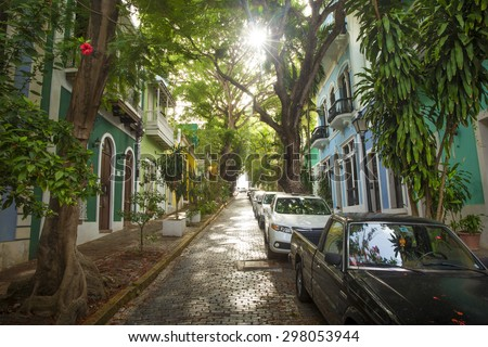 Puerto Rico - street of San Juan - stock photo