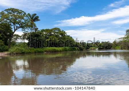 Puerto Viejo de Sarapiqui river in Costa Rica - stock photo