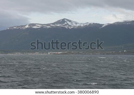 PUERTO WILLIAMS, CHILE - NOVEMBER 16,2014: Puerto Williams is a small Chilean town and port on the island of Navarino  to the shore of the Strait of the Beagle channel.