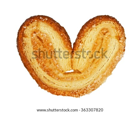 Puff cookie in the form of heart isolated on white background - stock photo