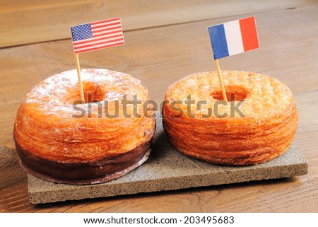 Puff pastries, half donut and half croissant