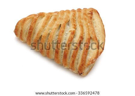 Puff pastry roll isolated on the white background