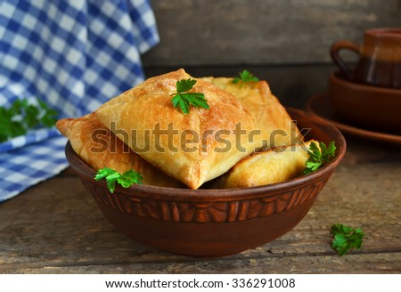 Puff with mushrooms and cheese  - stock photo