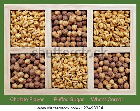 puffed and chocolate flavor wheat cereal in wooden box