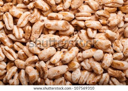 puffed organic kamut khorasan cereal - stock photo