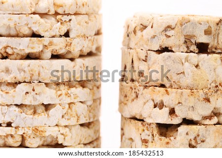 Puffed rice snacks. Isolated on a white background.