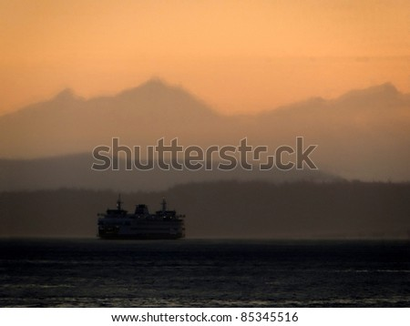 Puget Sound at dusk with Ferry
