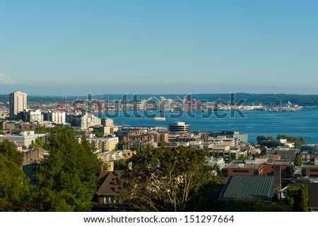 Puget Sound harbor in Seatlle, USA - stock photo