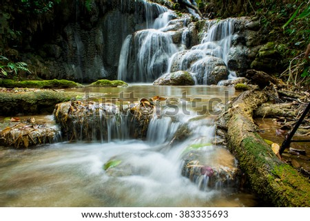 Pukang Waterfall in Tropical rain forest of Thailand , water fall in deep forest of Chaing rai province Thailand .
