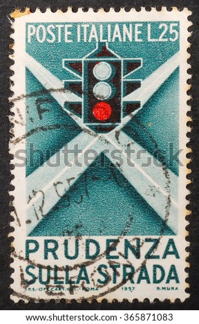 PULA, CROATIA - JANUARY 18, 2016: A stamp printed in Italy shows image of a traffic signal, series, circa 1957