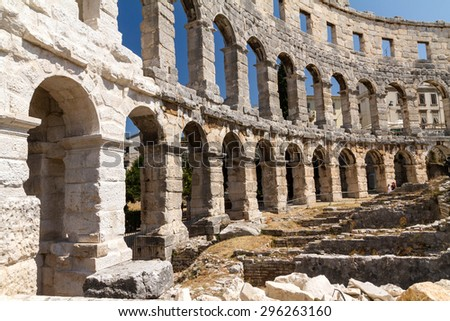 Pula, Croatia: 20 July 2013. The Amphitheatre of Pula in Croatia, Pula Croatia - stock photo