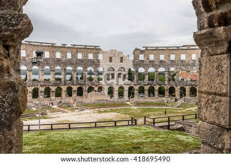 PULA, CROATIA - Roman time arena in Pula, detail. UNESCO world heritage site.