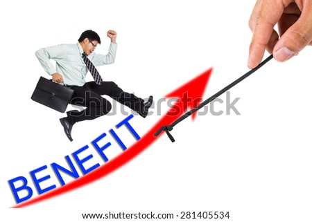 Pull graph benefits for growing your business with white background - stock photo