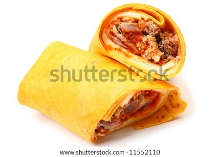Pulled Pork and Provolone Wrap and spicy bbq sauce.
