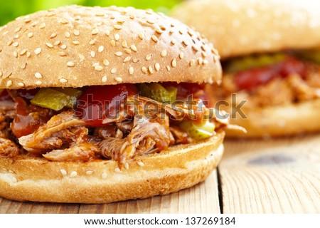Pulled pork sandwich - stock photo