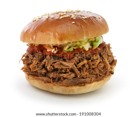 pulled pork sandwich isolated on white background - stock photo