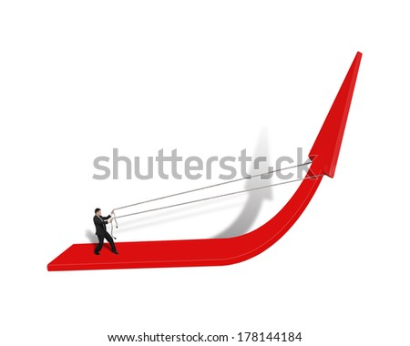 Pulling up red arrow isolated in white background