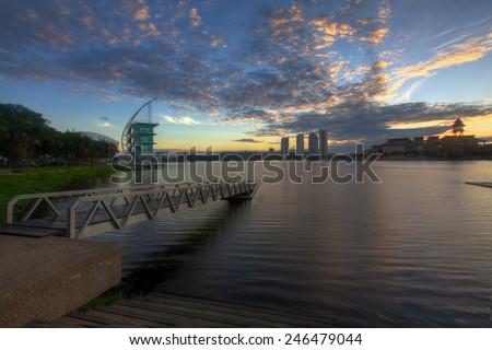 Pullman Putrajaya Lakeside in sunrise time Putrajaya, Malaysia - stock photo