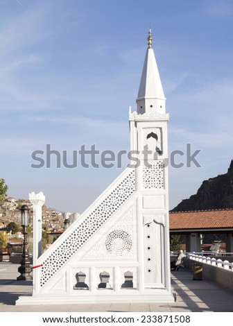 Pulpit, historical and the famous mosque in Ankara, Hadji Bayram Mosque, Turkey - stock photo