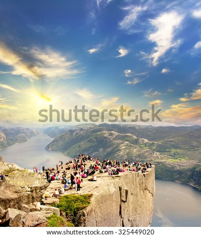 Pulpit rock at sunrise in Norway. Travel background - stock photo
