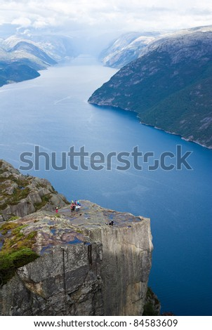 pulpit rock in Norway - stock photo