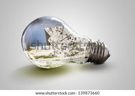 Pulpit Rock in Norway inside light bulb - stock photo