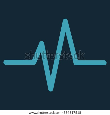 Pulse glyph icon. Style is flat symbol, blue color, rounded angles, dark blue background. - stock photo