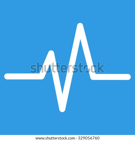 Pulse glyph icon. Style is flat symbol, white color, rounded angles, blue background. - stock photo