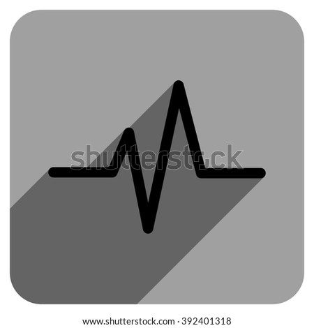 Pulse long shadow glyph icon. Style is a flat pulse iconic symbol on a gray square background. - stock photo