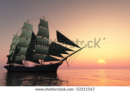 PULSE OF LIFE - A tall clipper ship sails on calm waters at sunset. - stock photo