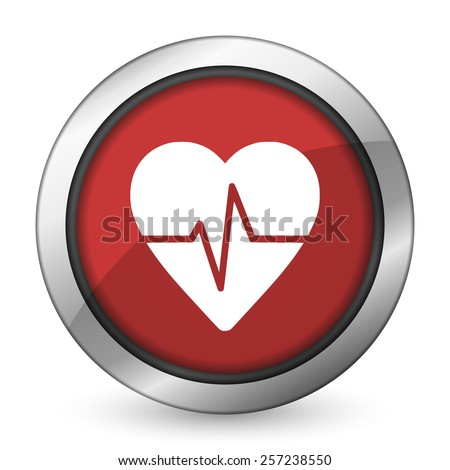 pulse red icon heart rate sign  - stock photo